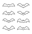 halloween bat flying outline icon set vector image vector image
