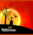 halloween full moon on red sky scary background vector image