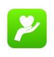 hand holding heart icon digital green vector image vector image