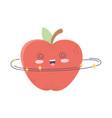 kawaii cute crazy apple fruit cartoon isolated vector image vector image