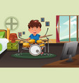 kid practicing drum at home vector image vector image