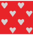 knitted background with hearts vector image