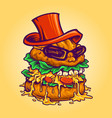 logo badass burger fast food mascot vector image
