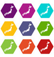 map of japan icon set color hexahedron vector image vector image