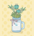 mason jar with floral decorations and save date vector image vector image