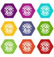 molecule biology icons set 9 vector image vector image