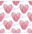 Pink fingerprint seamless pattern with heart on a vector image vector image