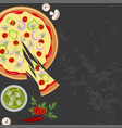 pizza with glass of soda vector image vector image