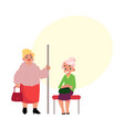 plump middle age woman standing old lady sitting vector image vector image