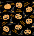 pumpkins and hats of witch vector image vector image