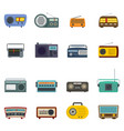 radio music old device icons set isolated vector image