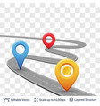road with location pins vector image vector image