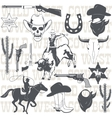 Rodeo cowboy riding a wild bull silhouette vector image