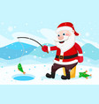 santa claus fishing rod catches fish in the hole vector image