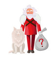 santa claus with dog isolated in white background vector image