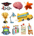 school and education 3d icon set vector image