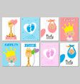 set bashower cards for girl and boy vector image vector image