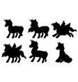 set unicorn silhouette vector image vector image