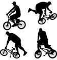 silhouette bmx cyclist vector image vector image