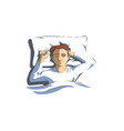 sleeping man lying on pillow and dreaming at night vector image vector image