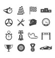 sport car racing glyph isolated icons set vector image
