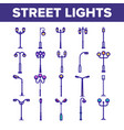 street lights linear thin icons set vector image vector image