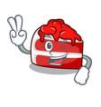 two finger red velvet character cartoon vector image