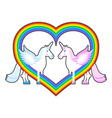 Two unicorn and rainbow heart Symbol of LGBT vector image