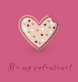 valentine card with heart shape bitten cookie vector image
