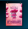 Valentines day party flyer design with