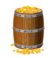 wooden barrel with treasures gold coins with vector image vector image