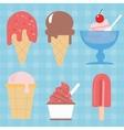 ice cream cone icon set sweet vector image
