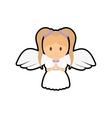 girl kid angel cartoon icon vector image