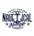 anchor with blue waves t-shirt print yacht club vector image vector image
