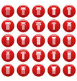 ancient columns icons set vetor red vector image vector image