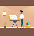 architect is working on the project the premises vector image vector image