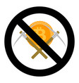 ban on mining cryptocurrency bitcoin of symbol vector image