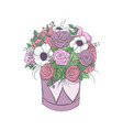 basket with a bouquet of bright flowers in basket vector image