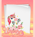 blank paper banner with cute unicorn in the vector image