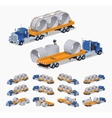 Blue heavy truck and yellow trailer with the vector image vector image