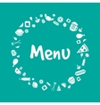 Blue menu cover design with food icons set vector image vector image