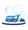 blue silhouette school bus in the city with clouds vector image vector image