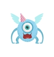Blue Winged Friendly Monster In Party Hat vector image vector image