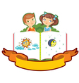 boy girl children book isolated vector image vector image