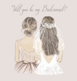 bride and bridesmaid side side wedding vector image vector image