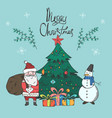 bright christmas card with santa and snowman vector image vector image