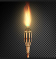 burning beach bamboo torch with flame realistic vector image vector image