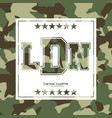 camouflage typography for clothes with lettering vector image vector image