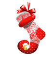 christmas sketch with decor of patterned boot with vector image