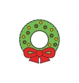 Christmas wreath flat line icon vector image